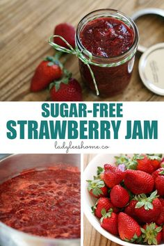 SEE HERE TO STERILIZE JARS AND LIDS! Easy to make sugar-free strawberry jam with no store-bought pectin. A step-by-step picture tutorial for a sugar-free strawberry jam recipe. Strawberry Jelly Recipes, Sugar Free Strawberry Jam, Strawberry Freezer Jam, Sugar Free Jam, Homemade Strawberry Jam, Sugar Free Recipes, Jam Recipes, Canning Recipes, Healthy Strawberry Jam Recipe