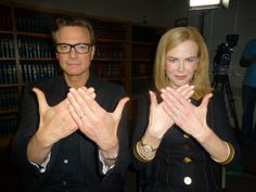 Colin Firth and Nichole Kidman ( It's a Bird It's a Plane! No, It's the Week Without Words Hand Sign )