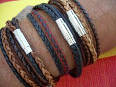 Mens Leather Bracelet, Double Wrap,Stainless Steel Magnetic Clasp, Mens Jewelry, Mens Bracelet on Etsy, $26.99