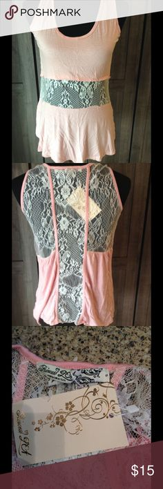 Clearance sale! Lace top New with tags. Gorgeous pink and lace tank top Tops Tank Tops