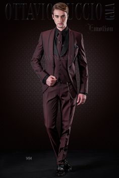 Burgundy tuxedo with micro patterns and black trims #groom #style #fashion