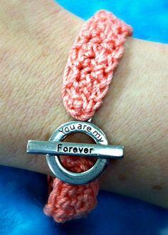 Forever in Love Crochet Bracelet | This crochet bracelet makes a great wedding gift.