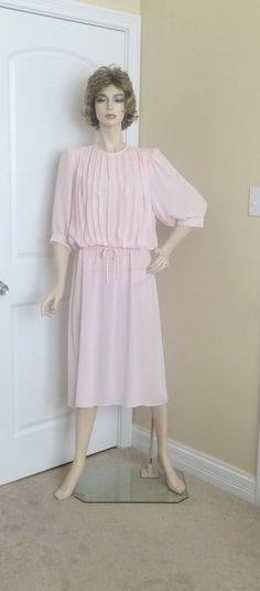 1980s Vintage Pale Pink Pleated Bodice Fashion Dress by Monica Richards, Vintage Clothing, Vintage 1980s Fashion, Sheer Fabric, Size 12-14 by VictorianWardrobe on Etsy