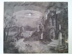 c1865 Sandpaper Painting : Silas Wood Jr signed on back of marble dust drawing board. Large Framed Moonlit scene with castle ruins, church,river sailboat, and 2 men on horses. Silas Wood is not the artist,but is the seller of the Marble dust board.The sandpaper artist is a woman who gave to a relative,perhaps a civil war soldier.