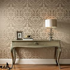 Bewitched Beige Wallpaper - Designer Damask Wall Coverings by Graham & Brown