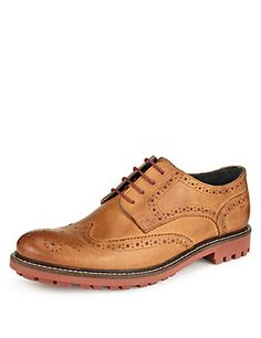 Leather Heavy Sole Brogue Shoes | M&S