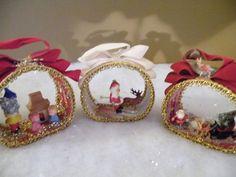 3 Vtg Mid Century Santa Reindeer Elf Christmas Scene Diorama Velvet Ornaments
