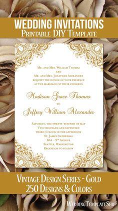 Printable Wedding Invitations, DIY Templates, Vintage Gold.