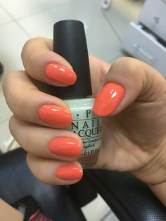 Summer opi nails oval manicure salmon nails