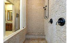 Stone tile shower!