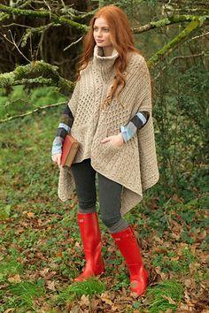 Carraig Donn Irish Aran Wool Sweater Womens Celtic Note Zipper Cape - Inspiration