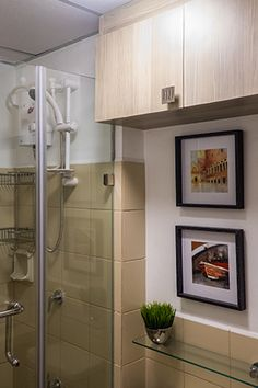 Given the limited space, Roland chose a framless tempered glass shower…