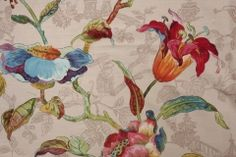 Hamilton Fabrics Lotus Linen & Cotton Drapery Fabric in Multi Printed in England $39.95 per yard