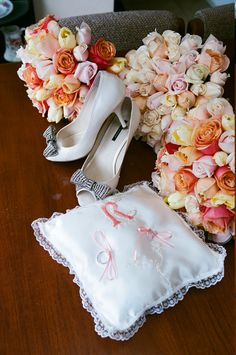 Shoes, flowers, ring pillow