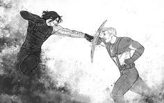Captain America and Winter Soldier by Hvit-Ravn