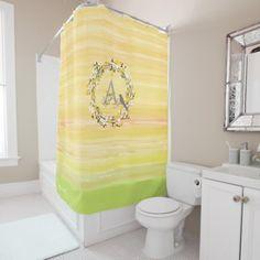 Watercolor Brush Lines, Spring Wreath Monogram Shower Curtain