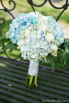 {Pretty Bouquet Featuring Light Blue Hydrangea, White Hydrangea, White Roses, Baby's Breath, & Green Foliage}