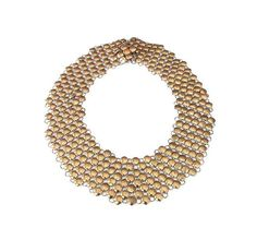 Vintage gold tone chainmaille mesh style wide collar necklace. Age: estimated circa 1930s - 50s Hallmarks: The only makers mark is on the snap. It is made by the Rau fastener Company, established in 1912 in Rhode Island. They were described as the leading distributor of metal snap fasteners. Measurements: it is approximately 17 long (clasped) x 2 wide. Condition: it is in overall good condition. There is no damage, but there is some noticeable finish loss when inspected up close (see…