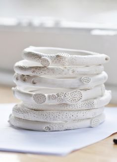 Porcelain rock coral bangles / Katherine Wheeler