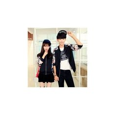 Couple Floral Print Baseball Jacket ($38) ❤ liked on Polyvore featuring outerwear, jackets, women, floral print jacket, floral jacket, cotton jacket, blue floral jacket and blue cotton jacket