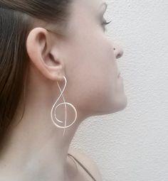 Music Treble Clef Sterling Silver Earrings, $50 KrisztinaRaczDesigns on ArtFire