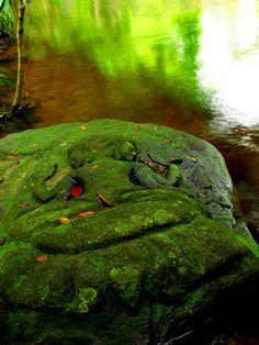 Brahma sandstone bas-relief, Kbal Spean (Bridge Head) Holy Site, Cambodia, dated 11th-12th centuries.