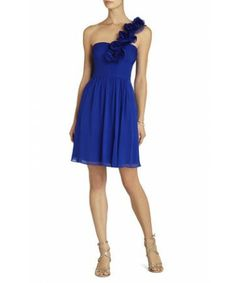 Short Royal Blue Thalia Rosettes One-Shoulder BCBG Bridesmaid Dresses