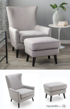 This handsome chair and ottoman set is designed in a Mid-Century Modern style that combines the vintage look of herringbone weaving and a traditional wingback design with contemporary lines and colors.