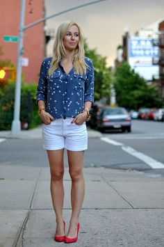 "Equipment Top c/o The Editeur, J Crew Shorts, Madewell Shoes, Elizabeth & James Sunglasses, J Crew ""Jenna"" Bracelet."