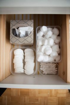 Line your drawers with plastic food containers to neatly organize cotton balls, sponges, and other makeup application tools.