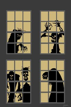 DAVE LOWE DESIGN the Blog: 63 Days 'Til Halloween: Zombie Window Silhouette Printables