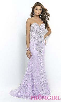 Strapless Sweetheart Lace Prom Dress by Blush at PromGirl.com