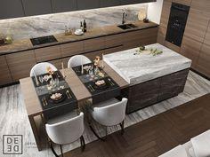 DEDE/Fusion apartment on Behance Kitchen Room Design, Luxury Kitchen Design, Kitchen Cabinet Design, Living Room Kitchen, Home Decor Kitchen, Interior Design Kitchen, Home Kitchens, Condo Interior, Kitchen Furniture