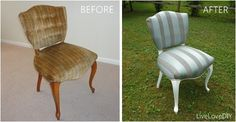before and after! Thrift store chair makeover!