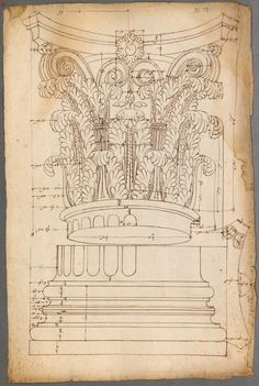 French and Italian architectural drawings and engravings of classical order of columns ca.1530 - 1570