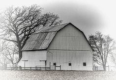 This large white barn in located on Ludlow Road in Champaign County, Ohio.