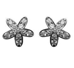 Glanina CZ Pave Fllower Stud Earrings | Cubic Zirconia | Silver