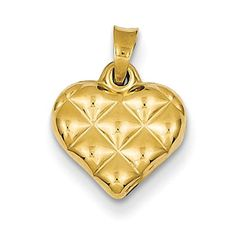 14k Yellow Gold 3D Quilted Puffed Heart Charm Pendant 15mmx11mm -- Find out more about the great product at the image link.