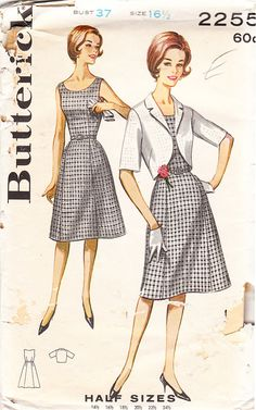 Vintage Misses' and Women's Belted Sheath Dress and Bolero Jacket - 1960s Butterick Sewing Pattern No. 2255 - Size 37 Bust