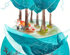 """Check out new work on my @Behance portfolio: """"Fox and cosmic Whale"""" http://be.net/gallery/59072677/Fox-and-cosmic-Whale"""