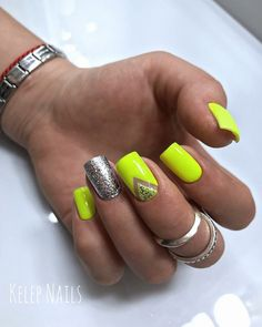 Amazing Summer Neon Nails Art Design You Must Try - Nail Art Connect : Amazing Summer Neon Nails Art Design You Must Try - Nail Art Connect Neon Yellow Nails, Neon Nail Art, Neon Nails, Shellac Nails, Manicure, Neon Nail Designs, Nail Polish Designs, Cute Nails, Pretty Nails