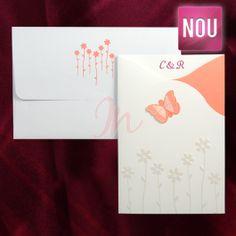 Invitatia se dechide in trei parti, partea centrala unde se scrie textul este alba, invitatia se inchide cu ajutorul fluturasului roz somon ce iese in evidenta, deasupra florilor perlate. Pretul este inclus in pret.  Pret tiparire:  0.35 lei/buc – negru  0.49 lei/buc – color  0.80 lei/buc – auriu, argintiu. #invitatie de #nunta #mirese #miri #invitatii #elegante #originale Playing Cards, Playing Card Games, Game Cards, Playing Card