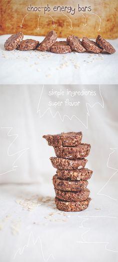 Chocolate-Peanut Butter Energy Bars #vegan #gf // neverhomemaker