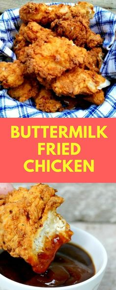 BUTTERMILK FRIED CHICKEN RECIPE - fried chicken but you cannot ever quite get the recipe right? Here is the only Buttermilk Fried Chicken Recipe you will ever need! People will love it and ask you to make it for every picnic, potluck or barbecue! Crispy Fried Chicken, Fried Chicken Recipes, Homemade Fried Chicken, Fried Chicken Deep Fryer, Fried Chicken Marinade, Kfc Chicken Recipe, Making Fried Chicken, Turkey Recipes, Meat Recipes