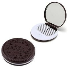 Portable Chocolate Cookie Shaped Design Round Makeup Mirror Comb Set ($2.84) ❤ liked on Polyvore featuring beauty products, beauty accessories, mirror and white