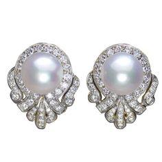 1980's Balogh Pearl and Diamond Earrings