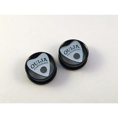 Steel Ouija Tunnels Plugs (Pair) Goth Plugs Tunnels, Gothic Plugs... ($13) ❤ liked on Polyvore featuring jewelry, earrings, gothic jewelry, steel body jewellery, goth earrings, goth jewelry and gothic earrings