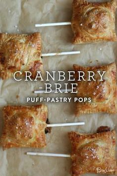 Enter: An interesting and utterly addictive app: savory cranberry-brie puff-pastry pops. These are perhaps the most grown-up (and delicious) lollipops ever. Brie Puff Pastry, Puff Pastries, Savory Pastry, Choux Pastry, Savoury Baking, Appetizers For Party, Appetizer Recipes, Burger Recipes, Party Snacks