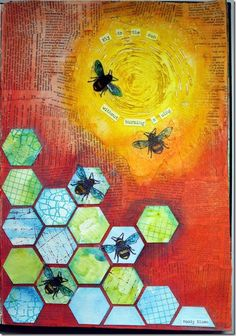 Fly to the Sun art journal page by Robyn Wood using Darkroom Door  Art Journey Rubber Stamps.