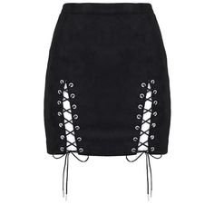 Suede Lace-Up Mini Skirt Black ($34) ❤ liked on Polyvore featuring skirts, mini skirts, suede skirt, short mini skirts, suede mini skirt, mini skirt and lace up skirt